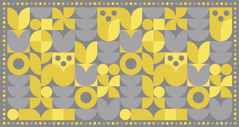 TENSTICKERS. 抽象的なパントン2021幾何学的なカーペット. 美しい抽象的な黄色と灰色のパターンデザインの高品質のビニールカーペットであなたの家を飾りましょう。カーペットは任意のサイズでカスタマイズ可能です。