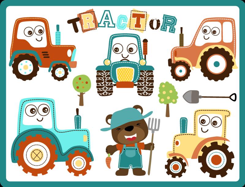 TenVinilo. Alfombra vinilo infantil tractores felices. Una increíble alfombra vinilo infantil con unos tractores sonrientes y un osito gracioso. Ideal para cuarto de niños ¡Elige tus medidas!