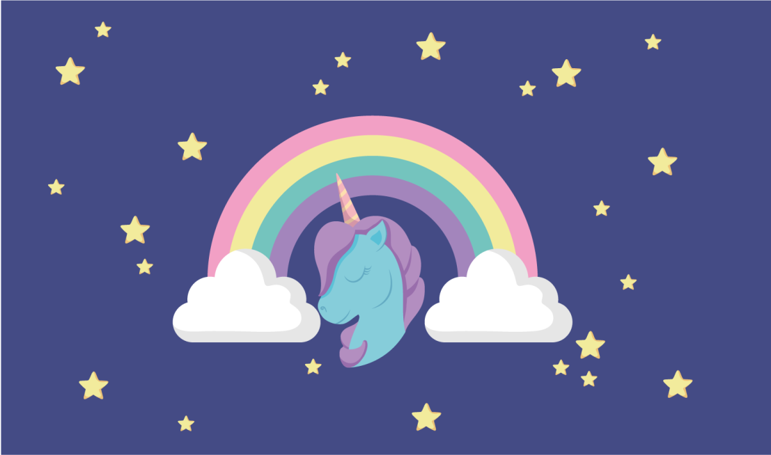 TenStickers. Anime Rainbow Unicorn vinyl mat. Unicorn vinyl rug which features a cute image of a unicorn under a rainbow with clouds. High quality materials used. Custom made.