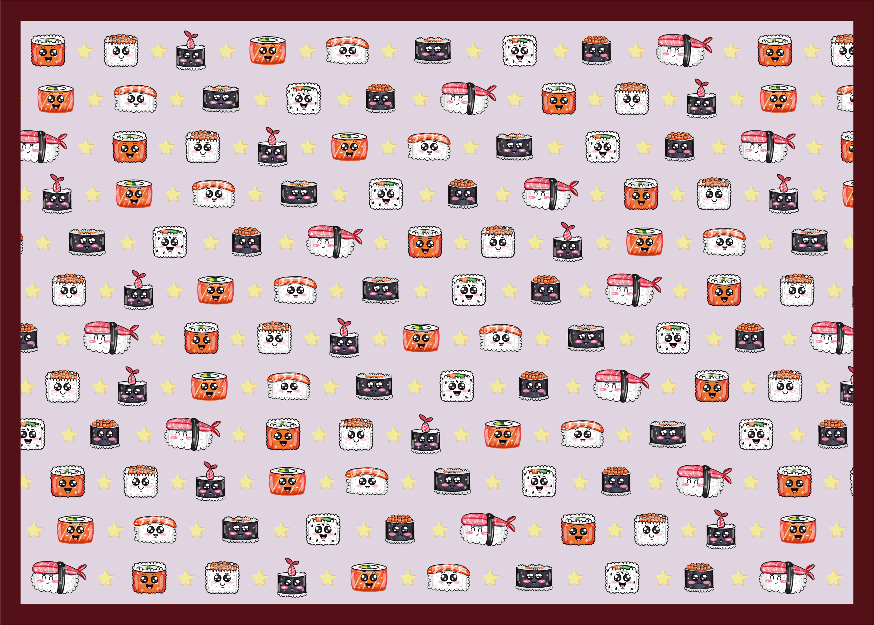 TenStickers. Anime Sushi Pattern kids vinyl carpet. Kitchen vinyl rug which features an adorable pattern of sushi pieces with cute anime faces on them. +10,000 satisfied customers.