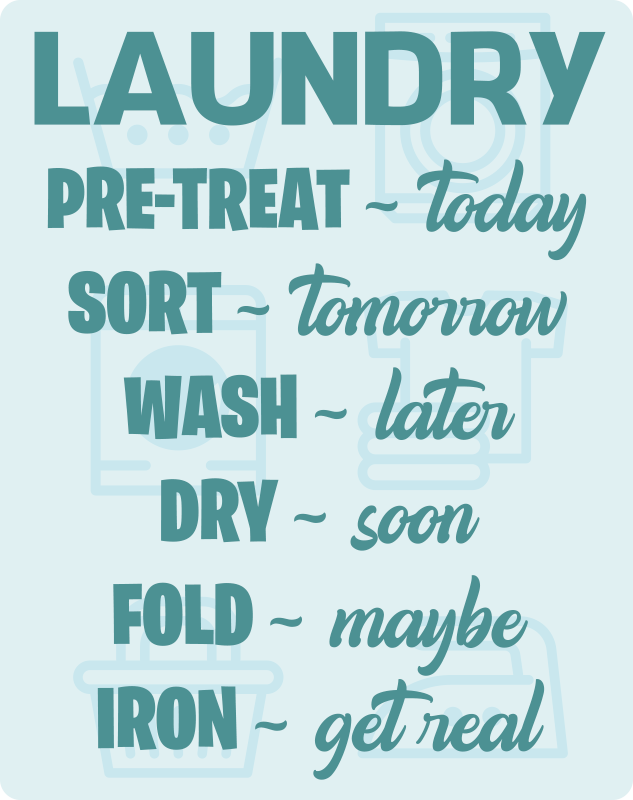 TenStickers. Laundry room schedule bespoke rugs. Turquoise vinyl rug with words related to laundry that you can place in your laundry room to fill it with motivation and energy to do your houseworks.
