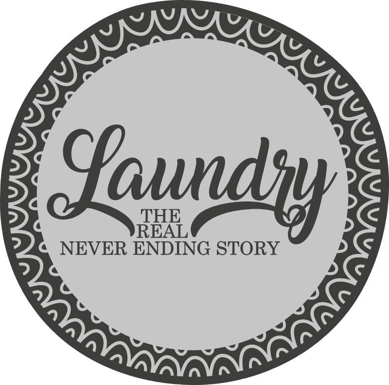 "TenStickers. Laundry never ending bespoke rugs. Circular rug with a fantastic design in gray that includes the text ""Laundry, the real never ending story"". Available in 50 colours."