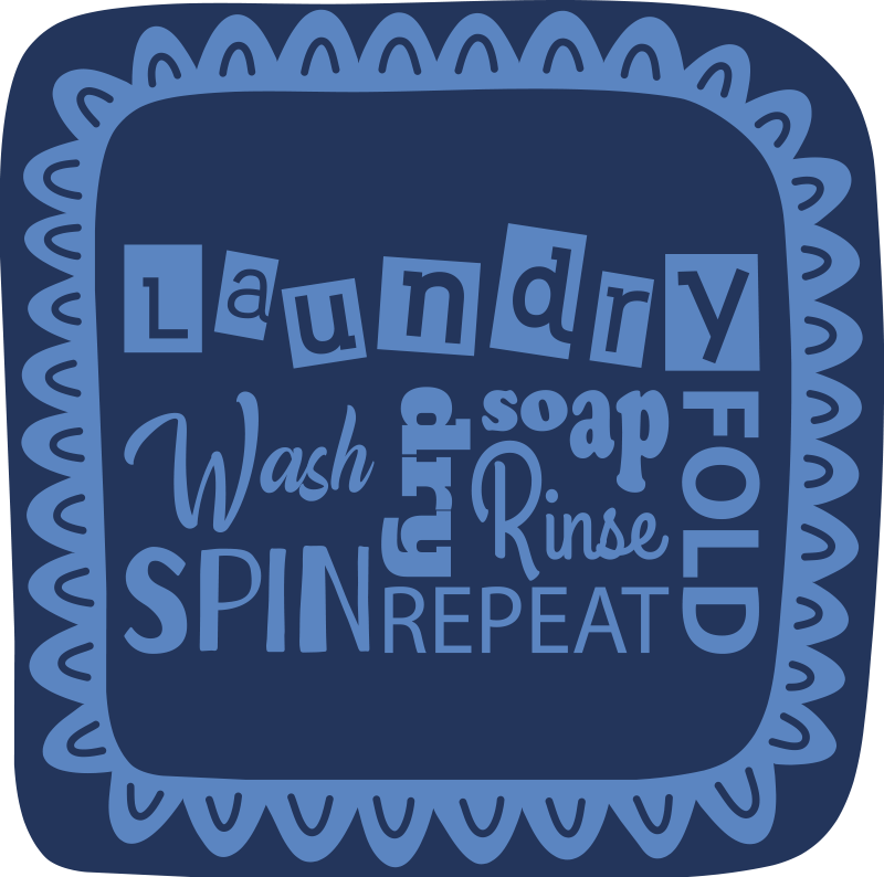 TenStickers. Laundry words bespoke rugs. Anti-slip vinyl carpet with many words related to laundry, perfect for positioning in the laundry room and give a touch of motivation to the place.
