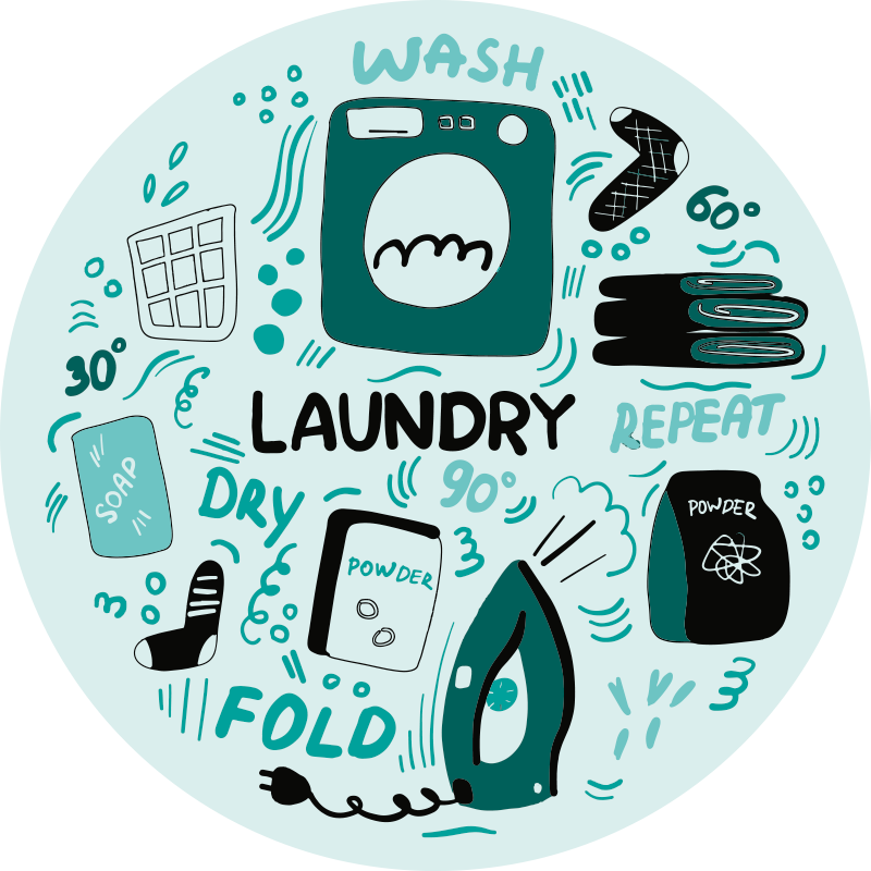 """TenStickers. Laundry icons bespoke rugs. Circular mat with the illustration of many small laundry icons with a turquoise background and the word """"Laundry"""" and other designs related to laundry"""