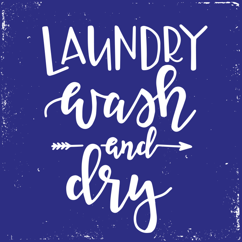 """TenStickers. Laundry wash and dry bespoke rugs. Anti-slip vinyl carpet with the text """"Laundry Wash and Dry"""", perfect for decorating at home and always make you feel motivated and full of energy."""