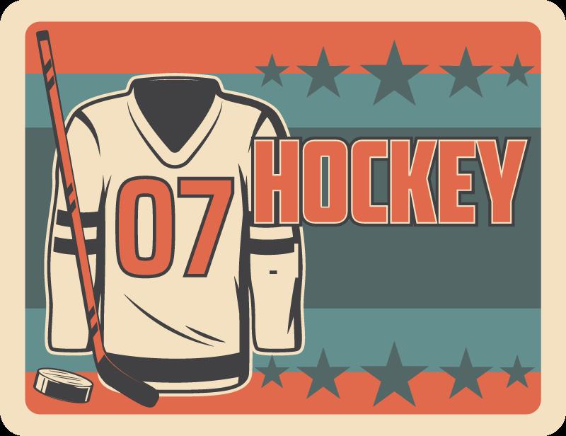 TenVinilo. Alfombra vinilo juvenil deporte hockey. Aquí tenemos una alfombra vinílica habitación juvenil de hockey para que decores tu habitación o la de tu hijo ¡Producto antideslizante!