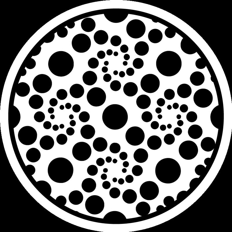 TenVinilo. Alfombra vinílica redonda círculos blanco y negro. Alfombra vinílica geométrica que presenta un patrón de lunares de varios tamaños en un remolino en tonos blanco y negro ¡Envío exprés!