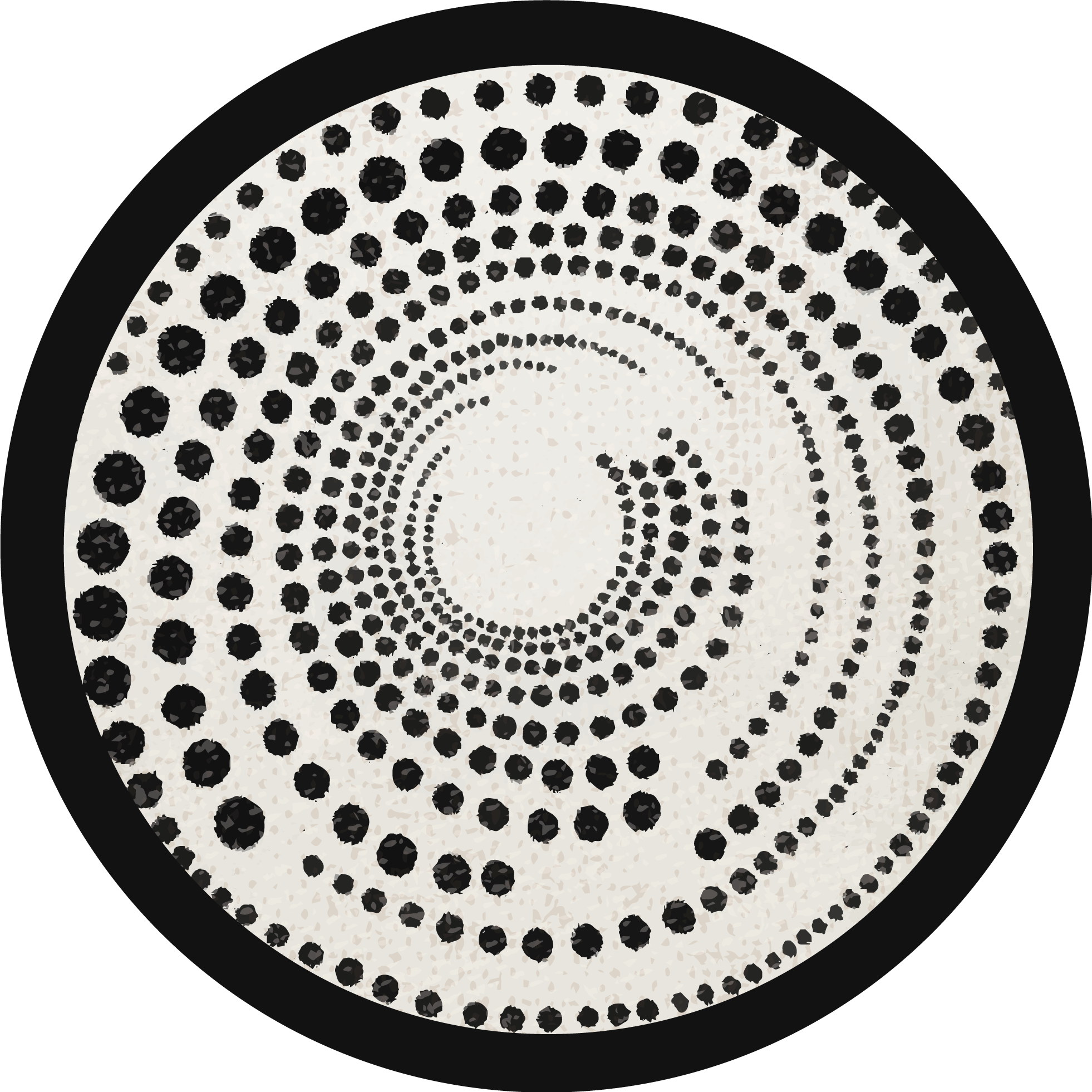 TenStickers. Polka dot broken circle geometric vinyl carpets. Round-tip vinyl carpet  with polka dots design for your bedroom floor space. Also suitable to beautify any other space in a house. Available in ay size
