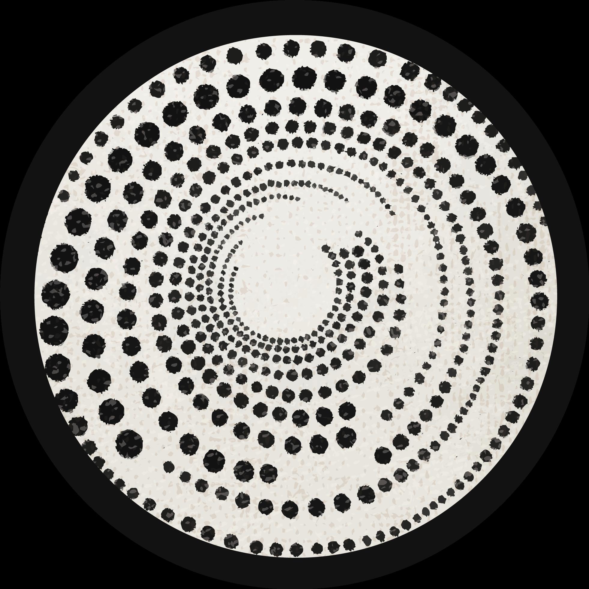 TenVinilo. Alfombra vinílica redonda lunares blanco y negro. Alfombra vinílica redonda con diseño de lunares para el suelo de su dormitorio. Adecuado también para decorar cualquier otro lugar de una casa