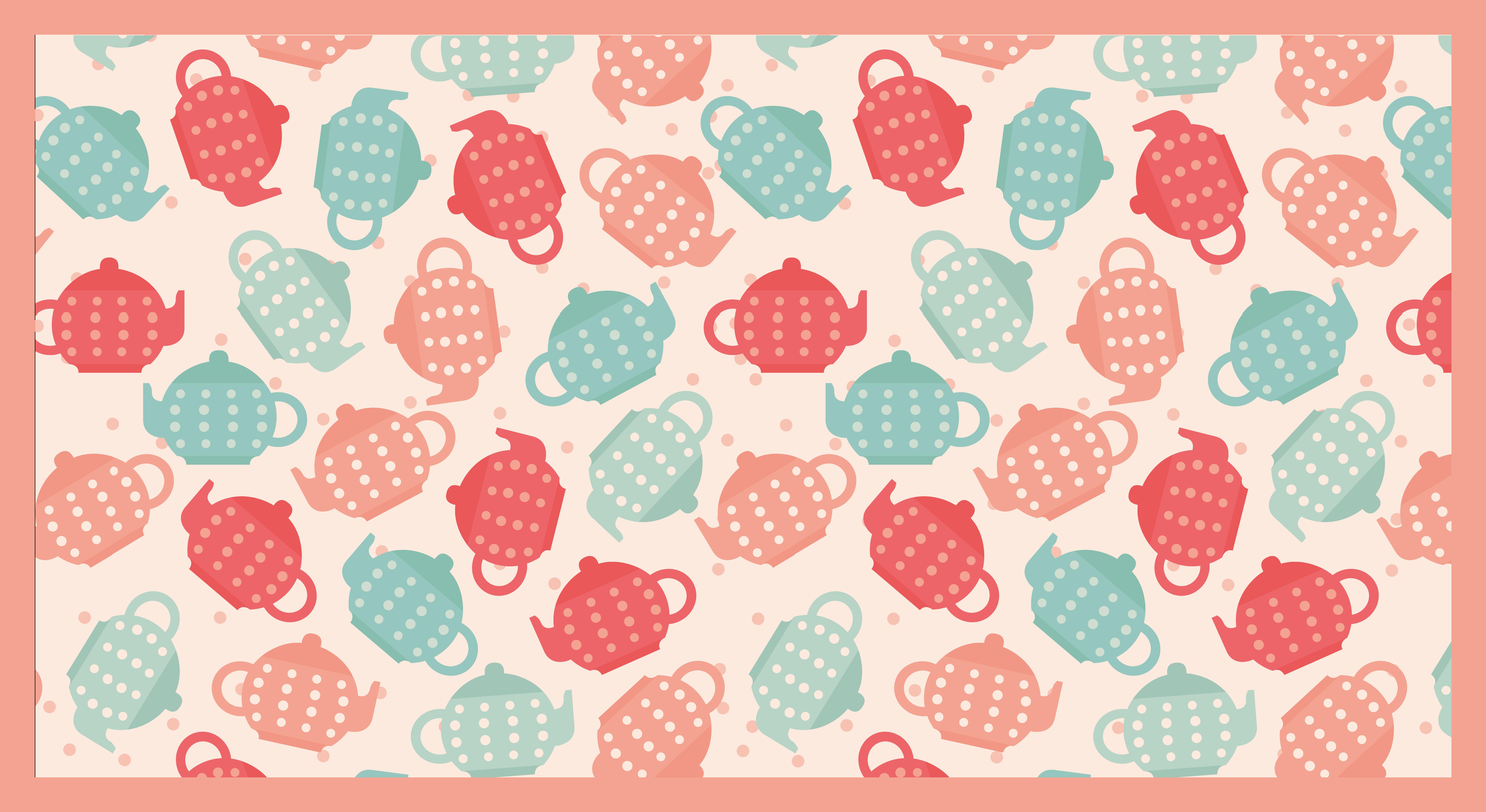 TenVinilo. Alfombra vinilo cocina teteras tonos pastel. Decora tu lugar con esta original alfombra vinilo cocina con coloridas teteras y diseño de lunares. Producto ideal para decorar ¡Envío exprés!