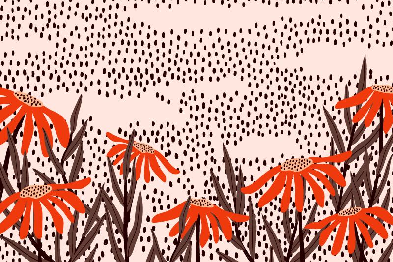 TenVinilo. Alfombra vinilo rosa flores y lluvia. Alfombra vinilo rosa con diseño de flores y lluvia para que decores tu habitación de forma original y bonita ¡Envío exprés a domicilio!