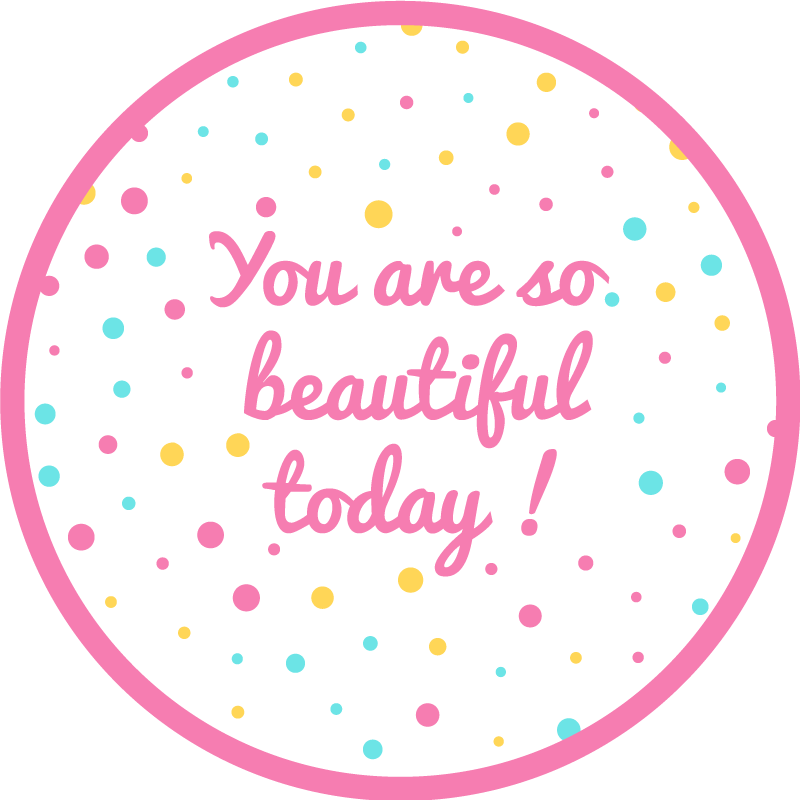 """TenStickers. You are so beautiful spotty bespoke rugs. Vinyl rug with the illustration of pink and yellow dots and the motivational phrase """"You are so beautiful today"""" ideal for you to decorate your house."""