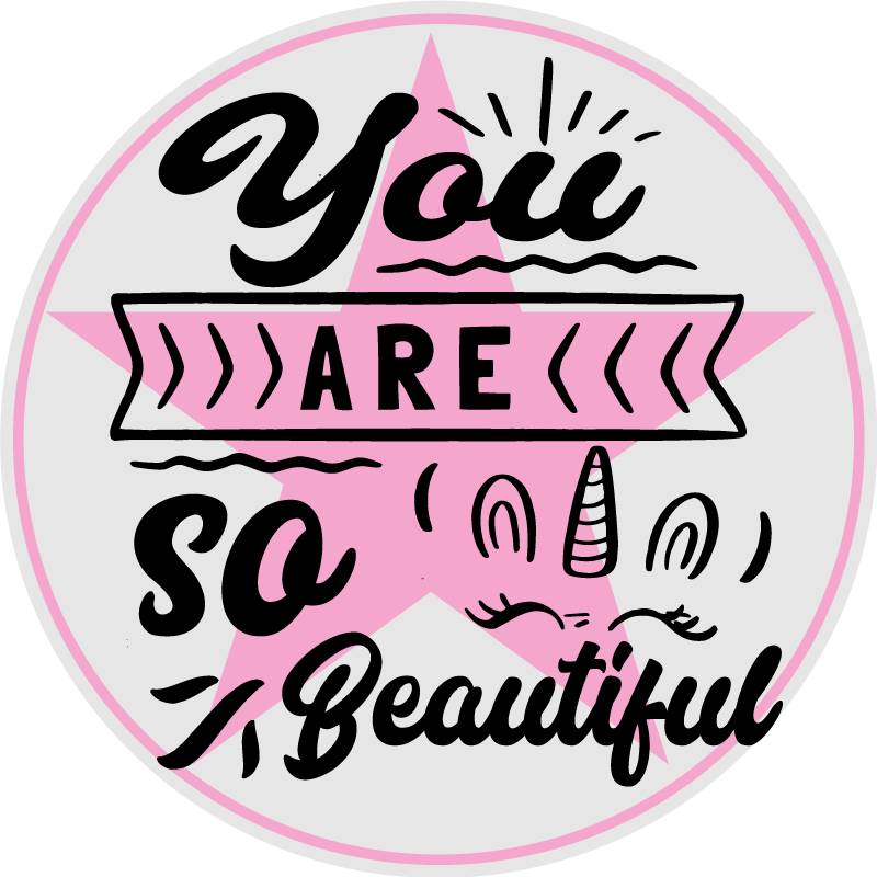TenStickers. You are so beautiful unicorn smile vinyl rugs. Unicorn vinyl rug which features the text 'you are so beautiful' in a big pink star with a unicorn face next to it. +10,000 satisfied customers.