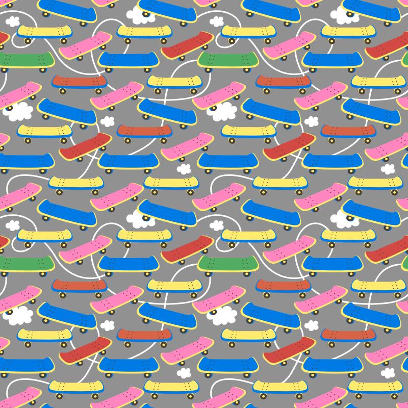 TenVinilo. Alfombra vinilo juvenil patinetes coloridos. Increíble alfombra vinílica habitación juvenil con fondo gris y con patrón de skates coloridos ideal para los amantes del patinaje ¡Envío gratuito!