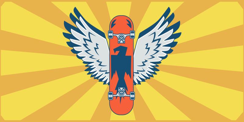 TenVinilo. Alfombra vinilo juvenil patinete con alas. Alfombra vinílica habitación juvenil de ilustración de un skate naranja con alas y fondo amarillo, ideal para los amates del skate ¡Envío gratuito!
