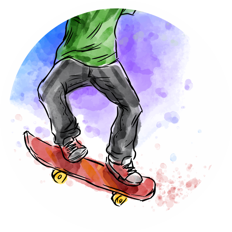TenStickers. Watercolour Skateboarding teenage vinyl rugs for bedrooms. Vinyl rug which features an image of a guy on a skateboard painted in brilliant watercolours. Easy to apply. High quality.