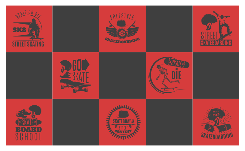 TenStickers. Red and Black Skateboarding teenage vinyl rug for bedrooms. Skateboard vinyl rug which  features a pattern of black and red squares with different skateboarding images and quotes inside of them.