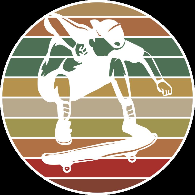 TenVinilo. Alfombra vinilo juvenil skater saltando. Alfombra vinilo juvenil que presenta un adolescente en una patineta saltando en el aire sobre un fondo de rayas ¡Envío exprés a domicilio!