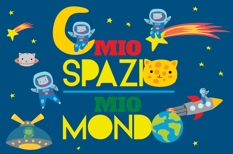 TenStickers. Tappeto in vinile stelle Sistema solare e gatti. Tappeto rettangolare con l'illustrazione dello spazio con gatti astronauti e un testo ideale per riempire la stanza del tuo bambino di illusione.