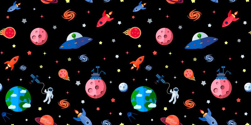 TenVinilo. Alfombra vinilo estrellas y ovnis. Hermosa alfombra vinilo estrellas para habitación infantil. Diseño con planetas, ovnis y estrellas con patrones coloridos ¡Envío exprés!