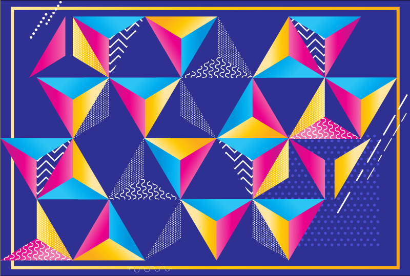 TenVinilo. Alfombra vinilo geométrica triángulos 3D. Alfombra vinilo geométrica de muchos triángulos en muchos colores como azul, rosa y amarillo, para que puedas llenar de color y alegría tu casa.