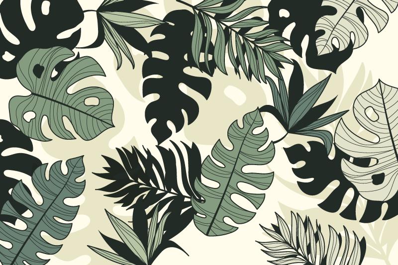 TenVinilo. Alfombra vinilo naturaleza hojas monstera verde. Alfombra vinilo naturaleza de muchas hojas de diferentes tonos de verde con fondo blanco para decorar tu dormitorio ¡Descuentos disponibles!