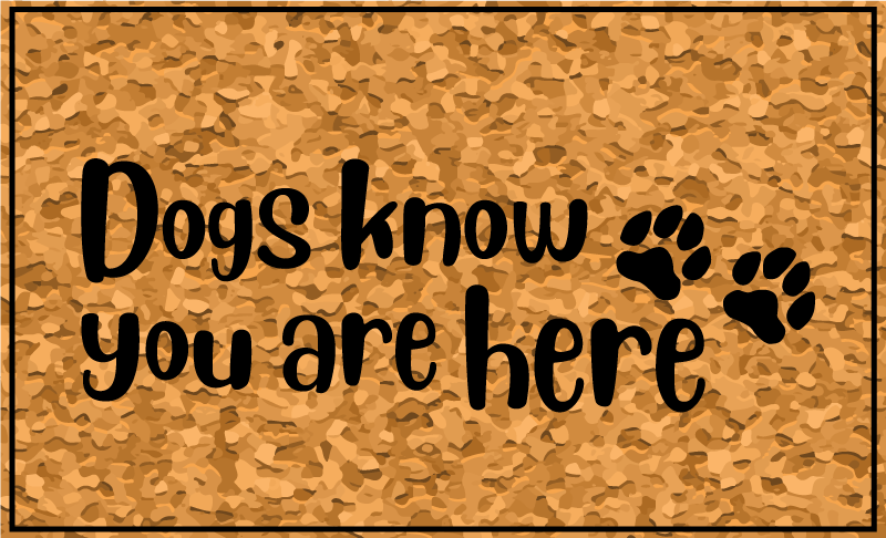 TenStickers. Dogs know you are here vinyl rugs. Dog vinyl rug which t features the text 'dogs know you are here' with a cute image of pawprints next to it. +10,000 satisfied customers.