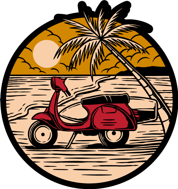 TenStickers. Red motorbike at the beach  nature carpet. Order this nature vinyl rug product now and feel like you are taking a trip down to the beach! Easily washable and cleanable. Home delivery!