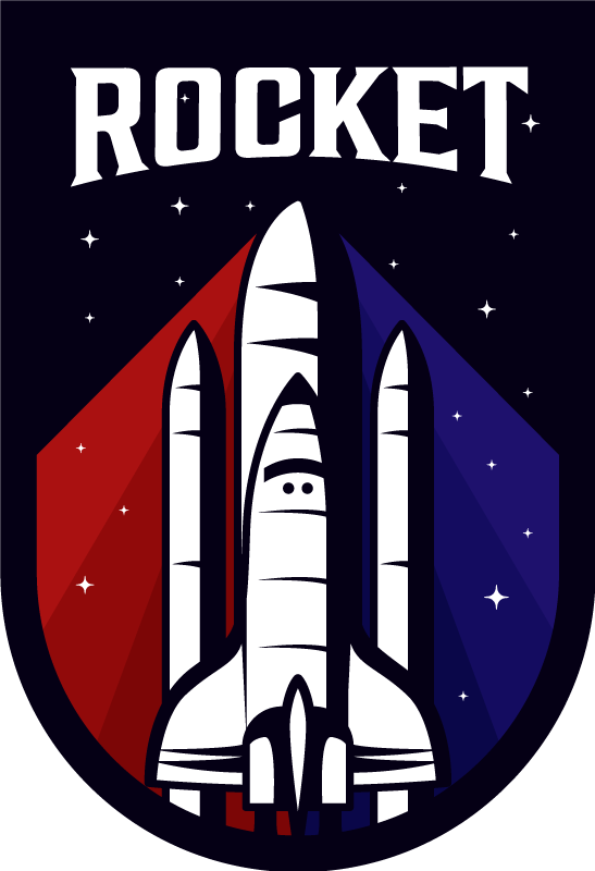 TenStickers. Colorful rocket  baby mat. Beautiful vinyl carpet perfect for kids room. The carpet host the design of a space rocket with an inscribed text 'Rocket'.