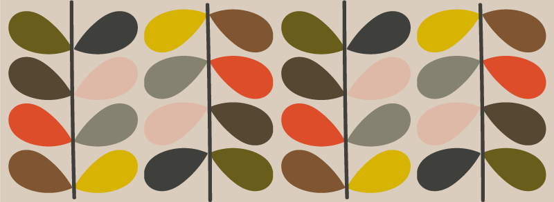 TenStickers. Orla Kiely pattern contemporary rugs. Pretty colorful Kiely pattern modern rug to add a lovely look on a room in a house. Suitable to decorate any space such as kitchen, dinning, etc.
