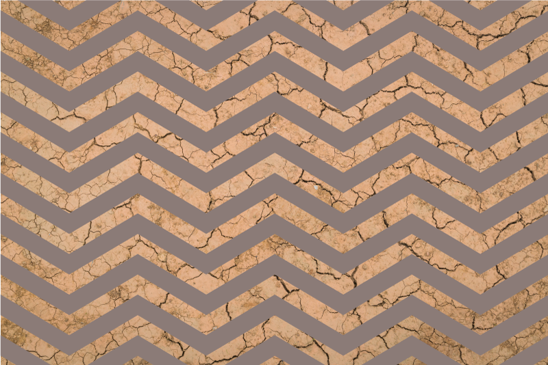 TenStickers. Zig- Zag Brown Mud vinyl rugs. Patterned vinyl rug which features a stunning zig-zag pattern with a broken mud background. High quality materials used.