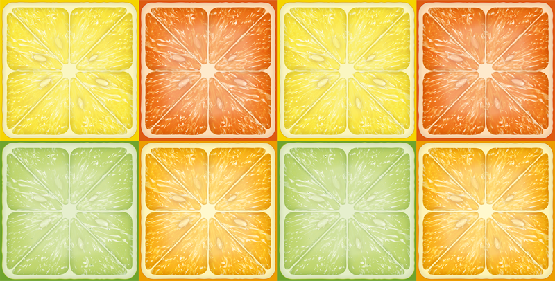 TenVinilo. Alfombra vinilo cocina textura de cítricos. ¡Pida esta alfombra vinilo cocina de tonos cítricos ahora y sorpréndase con su diseño fresco de cítricos con lima, limón, naranja y pomelos!