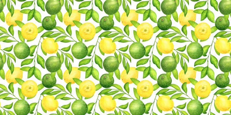 TenStickers. Winylowy dywan kwiatowy w cytryny i limonki. Zamów ten wyjątkowy dywan winylowy z owocami cytrusowymi już dziś i daj się zaskoczyć jego wysokiej jakości tym pięknym wzorem! Dostawa do domu!