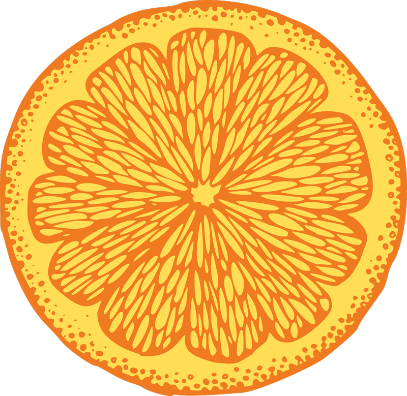 TenStickers. Orange hand draw circle kitchen flooring. Order this fruit vinyl rug product today and be amazed by its quality! This product can easily be washed and cleaned. Home delivery!