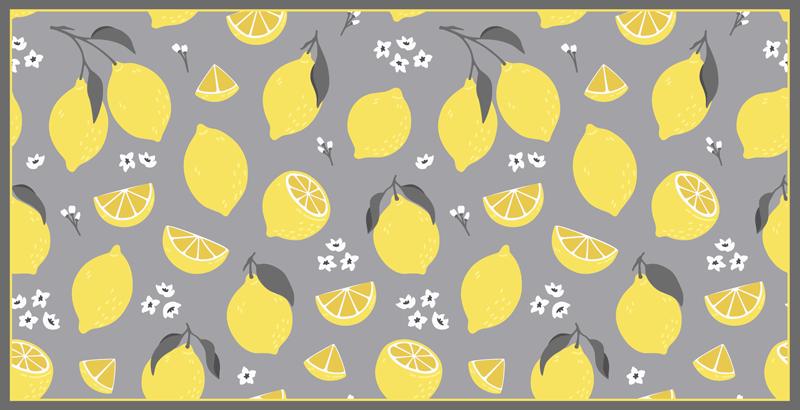 TenStickers. Tapete de vinil com textura de limão tropical. Este tapete de vinil amarelo limão é sutil, mas brilhante e vai iluminar qualquer ambiente. Escolha entre diferentes tamanhos para atender aos seus desejos. Fácil de limpar!