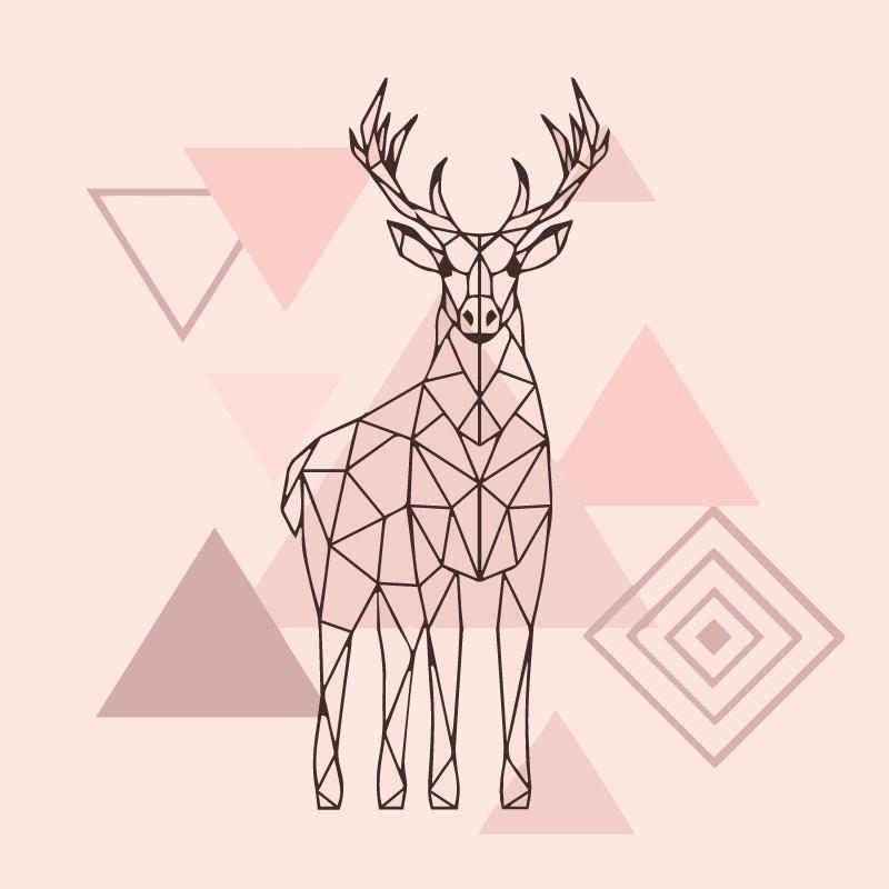 TenVinilo. Alfombra vinilo nórdica ciervo origami. ¡Alfombra vinilo nórdica que muestra el contorno de un reno agregará estilo y clase a cualquier habitación! ¡Elija entre diferentes tamaños!