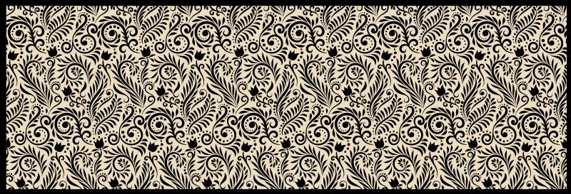 TenStickers. Pardoseală de bucătărie cu model negru floral. Țineți-vă doar un minut pentru a admira acest covor de bucătărie unic și frumos acoperit cu vinil. Dă bucătăriei tale un aspect nou și comandă-l pe al tău acum!