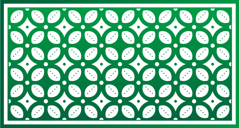 TenStickers. Emerald green tiles kitchen flooring. Wonderful pattern original vinyl rug for an elegant decoration everywhere. an elegant touch to your entrance home or your office even your terrace.