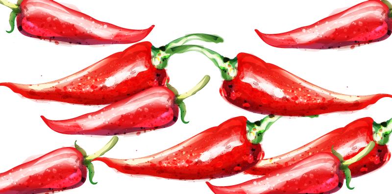 TENSTICKERS. 赤唐辛子キッチンビニールラグ. 白い背景に赤唐辛子のグループの見事なイメージを備えたキッチンビニールラグ。さまざまなサイズでご利用いただけます。