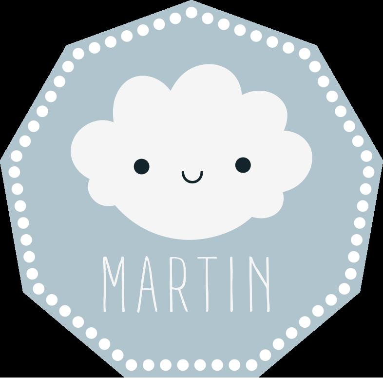 TenStickers. Covor de vinil personalizat happy cloud. Covor cloud din vinil care prezintă o imagine adorabilă a unui nor zâmbind cu numele copilului tău dedesubt. Materiale de înaltă calitate.