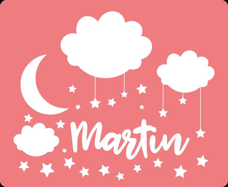 TenStickers. Estrelas e nuvens tapete de vinil personalizado. Tapete de vinil personalizado que apresenta uma imagem deslumbrante da lua rodeada de nuvens e estrelas e o nome do seu filho.