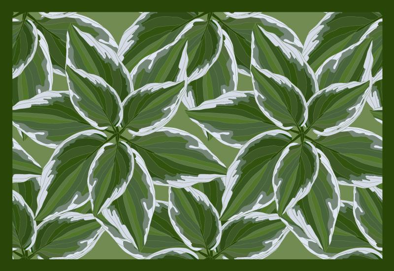 TenVinilo. Alfombra vinilo nórdica plantas tropicales. Alfombra vinilo nórdica con hojas de plantas grandes con un contorno blanco y un borde verde oscuro ¡Envío exprés a domicilio!