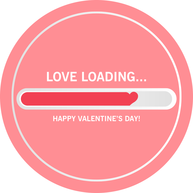 """TenStickers. Loading love bespoke rugs. Pink vinyl flooring with the illustration of a loading bar with the word """"love loading"""" and the phrase """"Happy Valentines Day"""" perfect for you."""