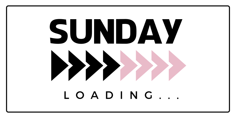 """TenStickers. Loading Sunday bespoke rugs. White carpet with the text """"Sunday"""" in black and the word """"Loading"""" to fill you with joy and strength to start a new week every Monday."""