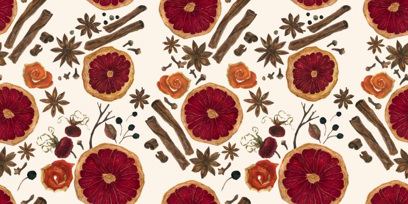 TenStickers. Pardoseli de bucătărie model condimente de iarnă. Covor de vinil ușor de curățat, cu un design uimitor de felii de fructe și condimente. ți-ar plăcea acest covor și finisajul său superficial este uimitor.