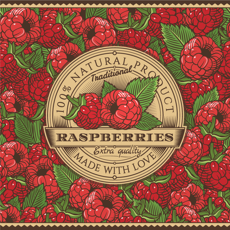 TenStickers. Vintage raspberries label kitchen flooring. This is one piece to have on your dinning or kitchen space. Vintage raspberries label kitchen floor tiles that would set your space looking so unique.