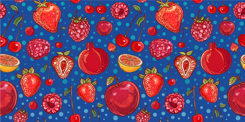 TenStickers. Berries and other fruits kitchen vinyl rug. This kitchen vinyl rug  illustrates berries like strawberries, raspberries with lemons and cherries with blue background. Home delivery available!