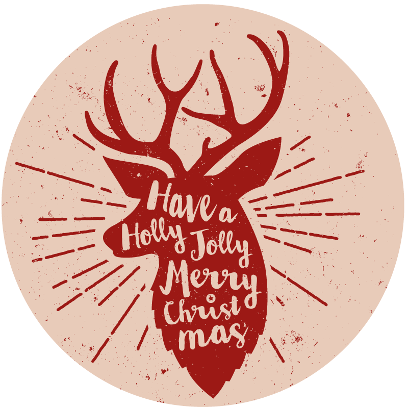 TenStickers. Red Christmas Stag animal mat. Give this beautiful and cool christmas vinyl rug product to someone you love for next Christmas! Home delivery soon if you order it today!