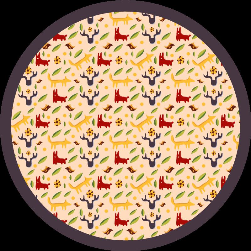 TenStickers. Tapete colorido com padrão de veado. Encomende hoje este tapete de vinil animal muito original e bonito e deixe seu quarto mais bonito! Entrega em domicílio em poucos dias!