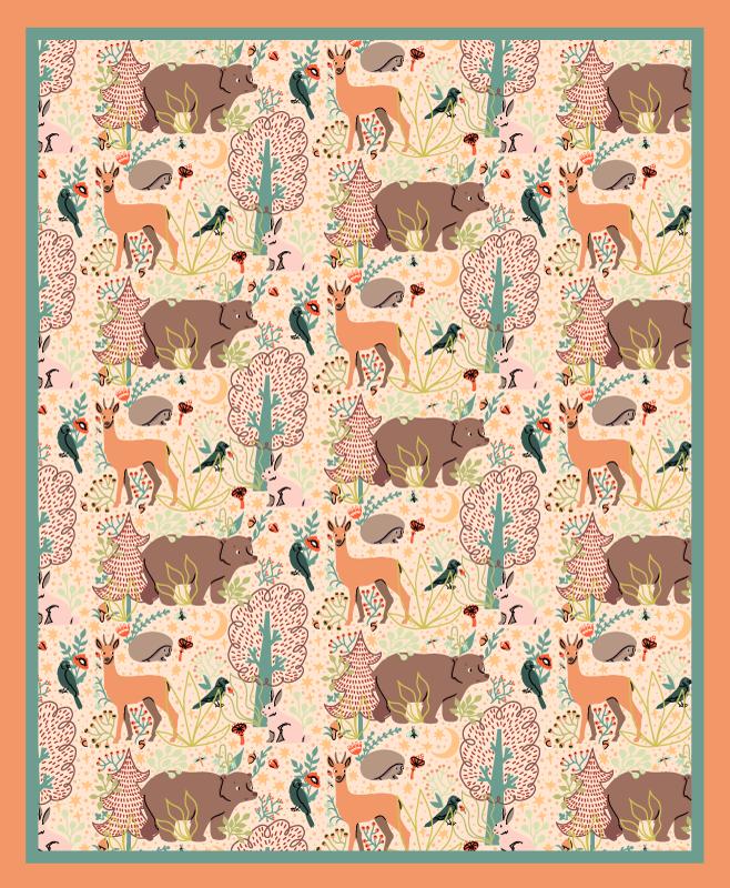 TenStickers. Dywan winylowy Leśne zwierzęta . Dywan winylowy ze wzorem zwierząt leśnych w tym niedźwiedzie, jelenie i ptaki, otoczony pięknie narysowanymi roślinami leśnymi. Zamów dziś!